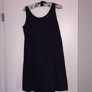 Black linen empire waist mini dress